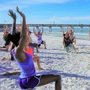 Time to exercise on the beach's picture